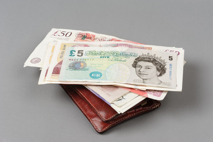 Wallet with english notes